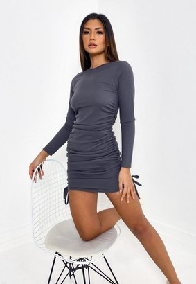 Missguided Gray Rib Ruched Side Mini Dress