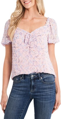 CeCe Floral Puff Sleeve Sweetheart Clip Dot Top