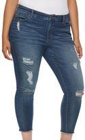 JLO by Jennifer Lopez Plus Size Destructed Skinny Ankle Jeans
