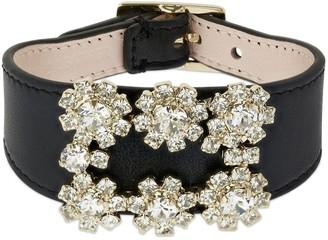 Roger Vivier Crystal Buckle & Leather Bracelet