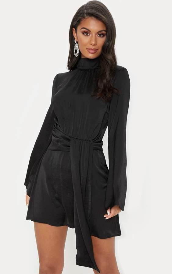 PrettyLittleThing Black Hammered Satin High Neck Drape Bodycon Dress