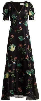 Peter Pilotto Fruit-print Silk Midi Dress - Womens - Black Multi