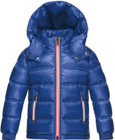 Moncler Gaston Web-Trim Quilted Down Coat, Bright Blue, Size 4-6
