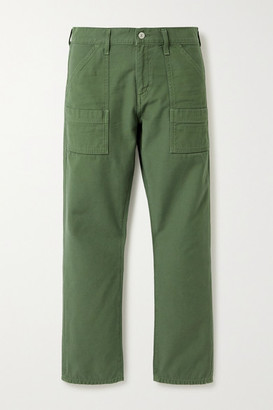 Citizens of Humanity Leah Cotton-twill Straight-leg Cargo Pants - Army green