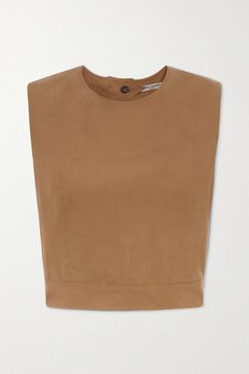 Three Graces London Rosie Open-back Cropped Cotton-poplin Top - Tan
