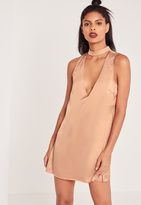 Missguided Silky Choker Neck Shift Dress Rose Gold