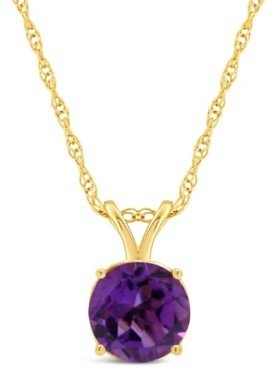Macy's Swiss Blue Topaz: 1-1/2 ct. t.w. Pendant Necklace in 14K Yellow Gold. Also Available in Amethyst, Citrine, Garnet, White Topaz and Peridot