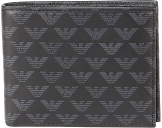 Emporio Armani Black And Grey Leather Wallet With Monogram Print