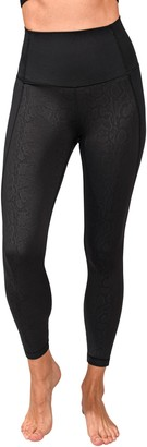 90 Degree By Reflex Embossed Super High Rise Elastic Free Ankle Leggings