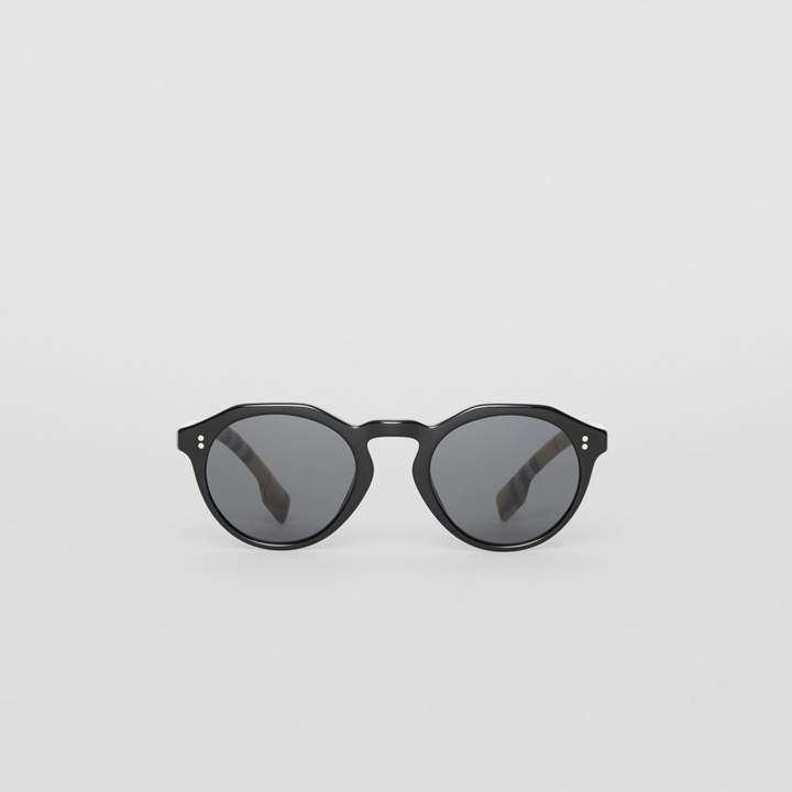 Burberry Vintage Check Detail Round Frame Sunglasses
