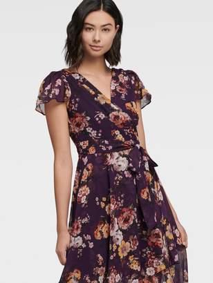 DKNY Floral V-neck Wrap Maxi Dress