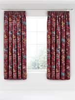 V&A Oriental Peony Pencil Pleated Curtains