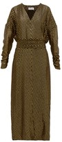 Adriana Iglesias Sienna Metallic Fil-coupe Belted Silk-blend Dress - Womens - Black Gold