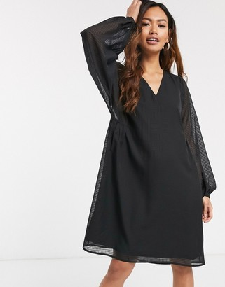 Pieces smock dress with sheer balloon sleeves in black