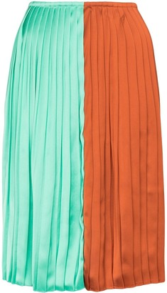 Plan C Colour-Block Pleated Midi Skirt