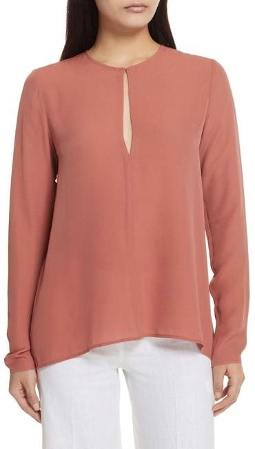 Theory Slit Front Silk Georgette Blouse