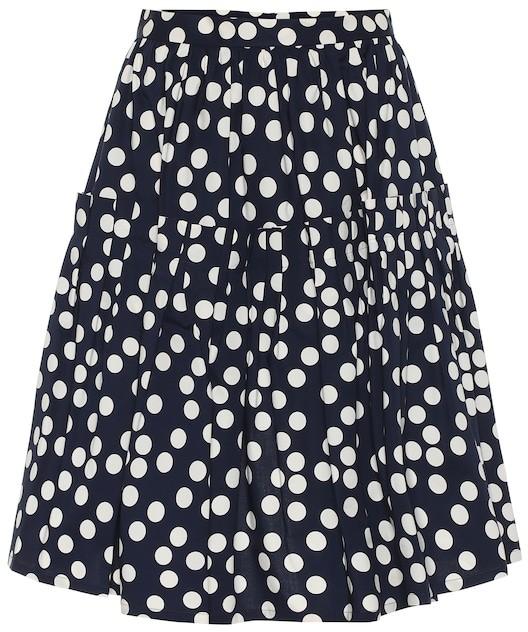 Carolina Herrera Polka-dot stretch-cotton skirt
