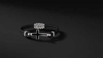 David Yurman Exotic Stone Cross Station Leather Bracelet With Black