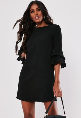 Missguided Black Frill Sleeve Shift Dress