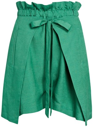 Cult Gaia Campell Paperbag Linen Shorts