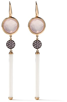 Francesca Villa 18kt Gold Pink Sapphire And Quartz Drop Earrings