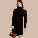 Burberry Chain Detail Wool Cashmere High-neck Dress