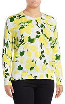 Lord & Taylor Plus Limoncello Button Cardigan