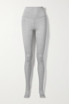 Norma Kamali Melange Stretch-modal Stirrup Leggings - Light gray