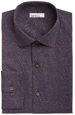 Bar III Men's Slim-Fit Performance Stretch Tossed Floral-Print Dress Shirt, Created for Macy's