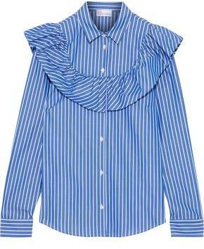 RED Valentino Ruffled Striped Cotton-poplin Shirt