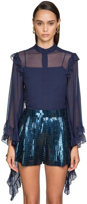 Alberta Ferretti Chiffon Shirt W/ Ruffle Details