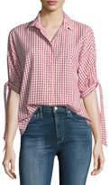 Velvet Priya Grid-Print Button-Front Cotton Shirt