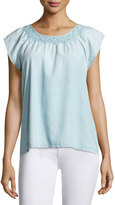 Soft Joie Qwynn Embroidered Denim Top, Blue