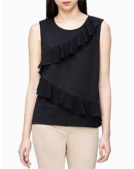 Calvin Klein Sleeveless Top W/Chiffon Ruffle