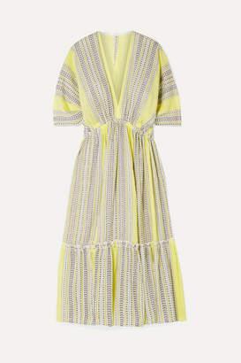 Lemlem Amira Tiered Striped Cotton-blend Gauze Midi Dress - Yellow