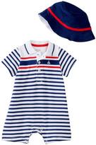 Little Me Striped Sailor Romper & Hat Set (Baby Boys)