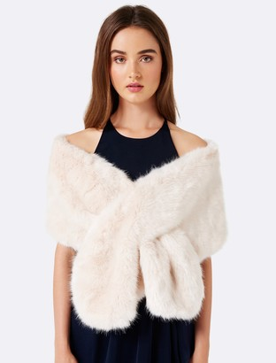 Forever New Laura Faux Fur Wrap - Blush - 00