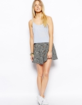 Brave Soul Geo-Tribal Print Flippy Skirt With Button Front