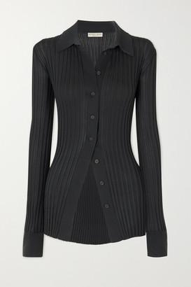 Bottega Veneta Ribbed Silk Top - Gray