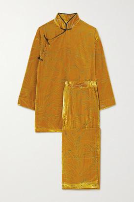 Olivia von Halle Harlow Devore-velvet Pajama Set - Gold