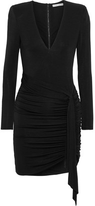 Alice + Olivia Kyra Tie-front Ruched Stretch-jersey Mini Dress