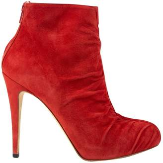 Brian Atwood Red Suede Ankle boots
