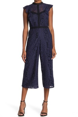 Adelyn Rae Lace Ruffled Crop Jumpsuit