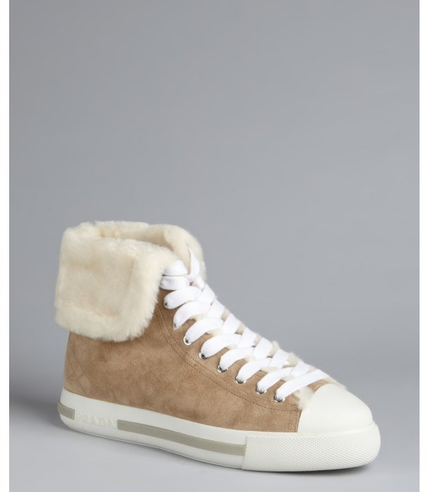 Prada Sport dark beige suede faux fur lined high-top sneakers