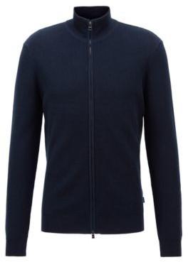 HUGO BOSS Zip Through Knitted Cardigan In Cotton - Dark Blue