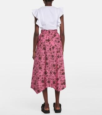 Ganni Floral cotton poplin midi skirt