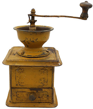 One Kings Lane Vintage French Tin Coffee Grinder - Rose Victoria - mustard yellow/brown