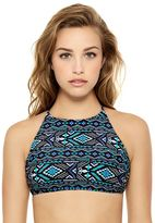Juniors' Hot Water Tribal High-Neck Bikini Top