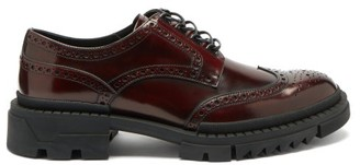 Versace Patinated-leather Brogues - Burgundy