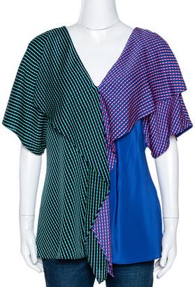 Diane von Furstenberg Blue Printed Color Block Silk Ruffled Blouse L
